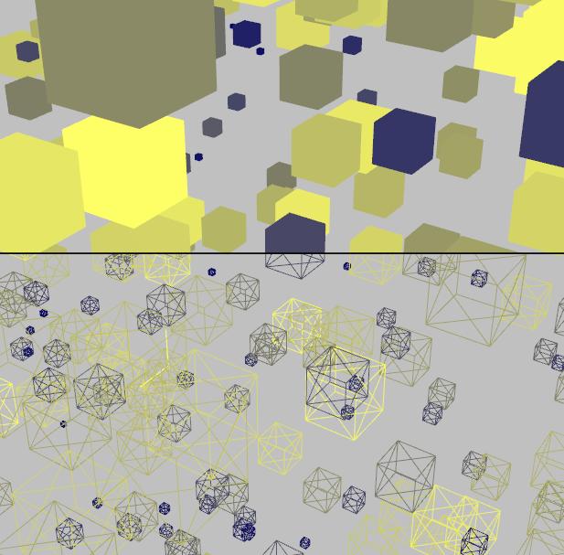Exemple d'affichage des cubes pleins (en haut) et en fil de fer (en bas)